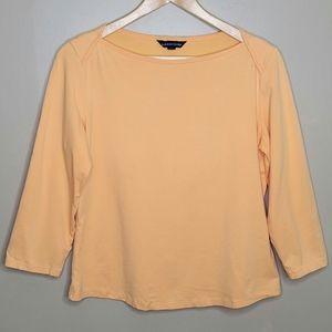 Lands' End Boat Neck 3/4 Sleeve Coral Shirt